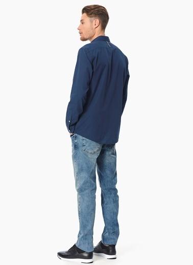 Que Slim Fit Uzun Kollu Gömlek Lacivert